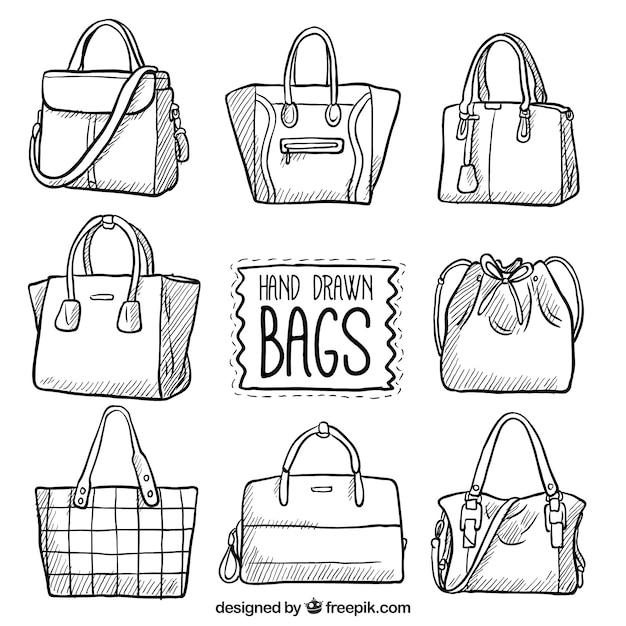 手描きのバッグのセット 無料ベクター