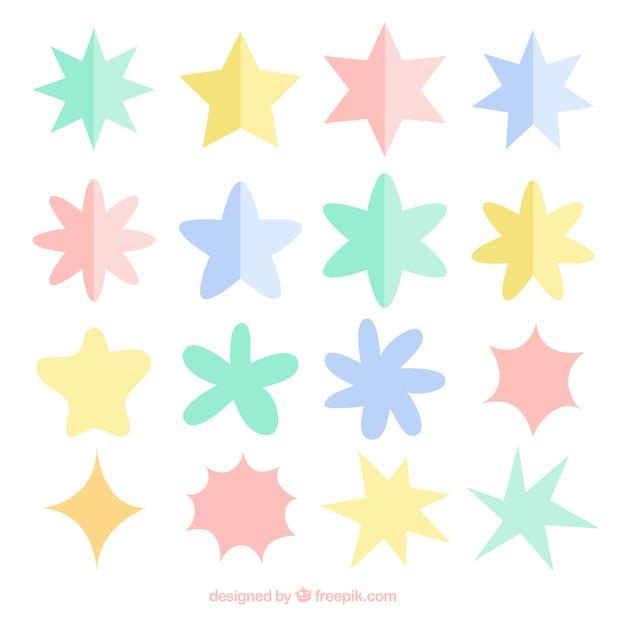 Набор красочных звезд в плоском стиле Бесплатные векторы