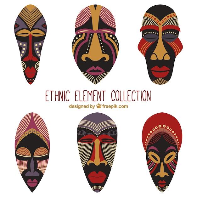 エスニックスタイルに設定されたアフリカのマスク 無料ベクター