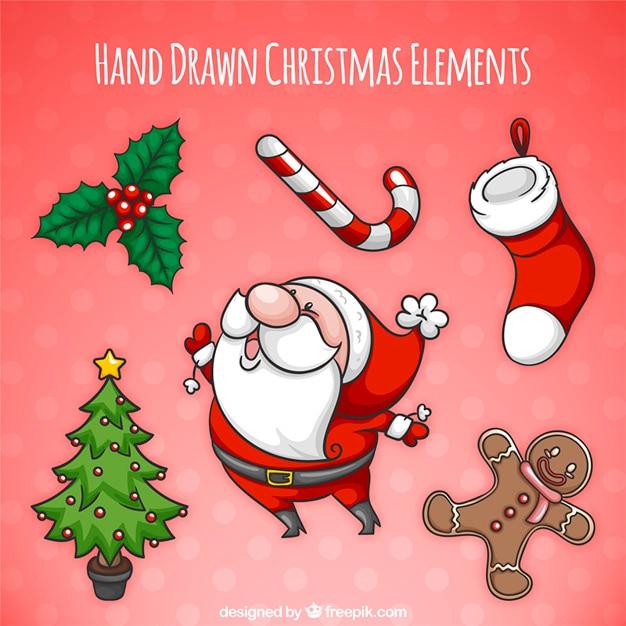 クリスマスの要素描かれた美しい手のパック 無料ベクター
