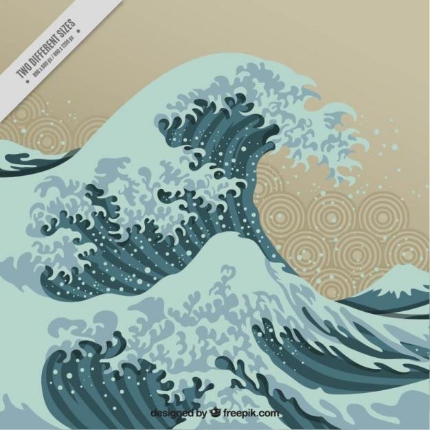 和風の美しい波背景 無料ベクター