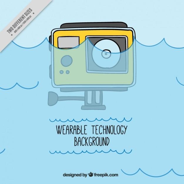手描きの防水デジタルカメラの背景 無料ベクター