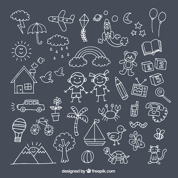 Пакет с милыми рисунками для детского дня Бесплатные векторы