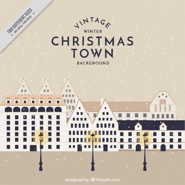 街灯とヴィンテージ街のクリスマスの背景 無料ベクター