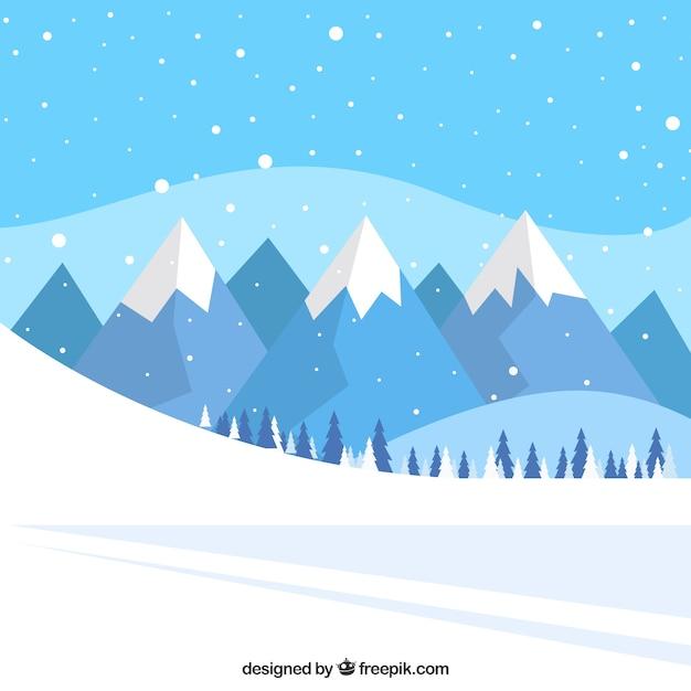 雪のトラックや山の風景の背景 無料ベクター