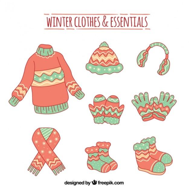 手描き冬服とアクセサリーのセット 無料ベクター