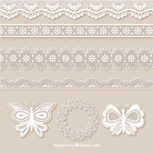 Упаковка из кружева границ и бабочек Бесплатные векторы