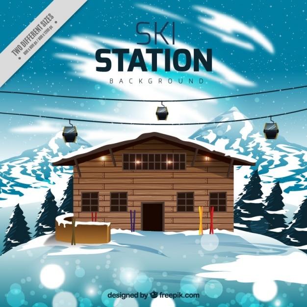 スキー場の背景とケーブルカー 無料ベクター