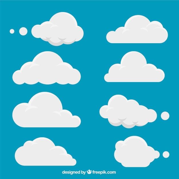 Набор белых облаков Бесплатные векторы