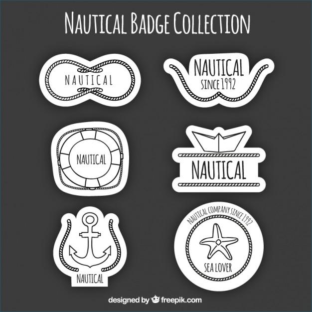 黒と白の航海ロゴ、手描き 無料ベクター