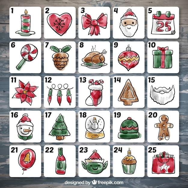 水彩クリスマス装飾のアドベントカレンダー 無料ベクター