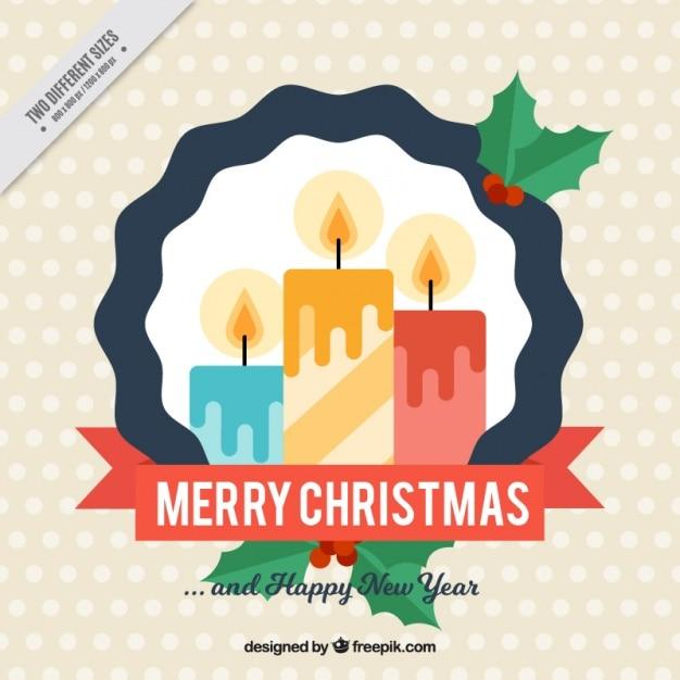 フラットなデザインのキャンドルとメリークリスマスの背景 無料ベクター