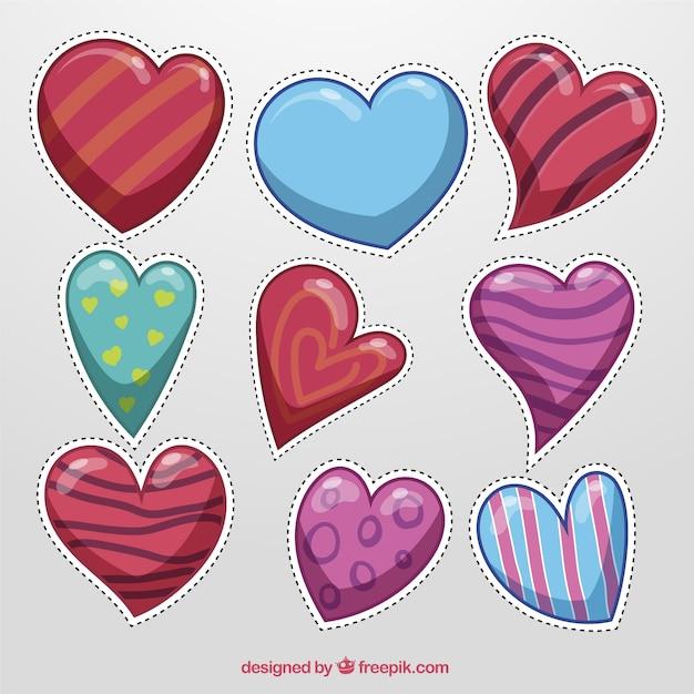 Коллекция сердец наклейки в абстрактный дизайн Бесплатные векторы