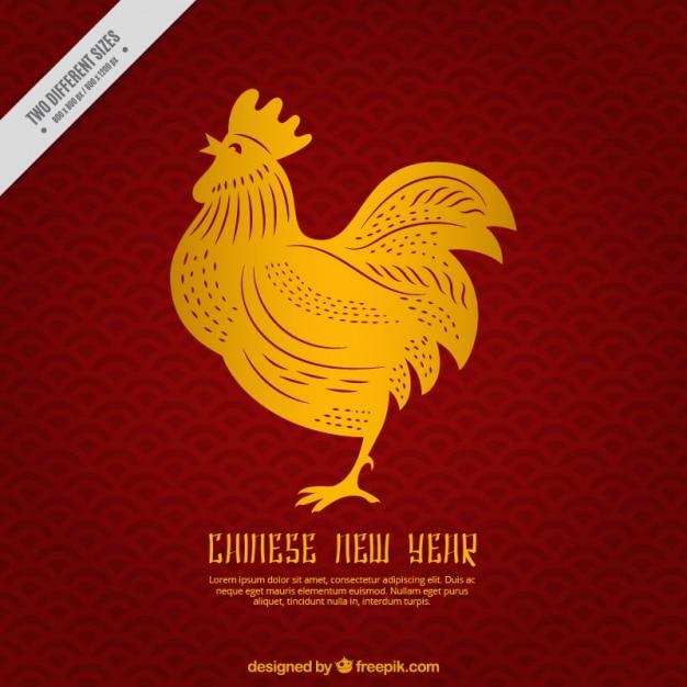Китайский новый год фон с золотым петухом Бесплатные векторы