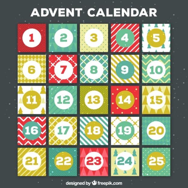 典型的な要素を持つレトロなアドベントカレンダー 無料ベクター