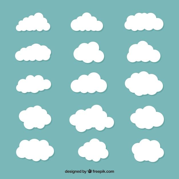 Большая коллекция белых облаков Бесплатные векторы
