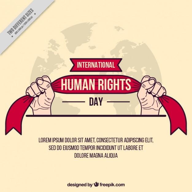 Руки держат ленту, день прав человека Бесплатные векторы