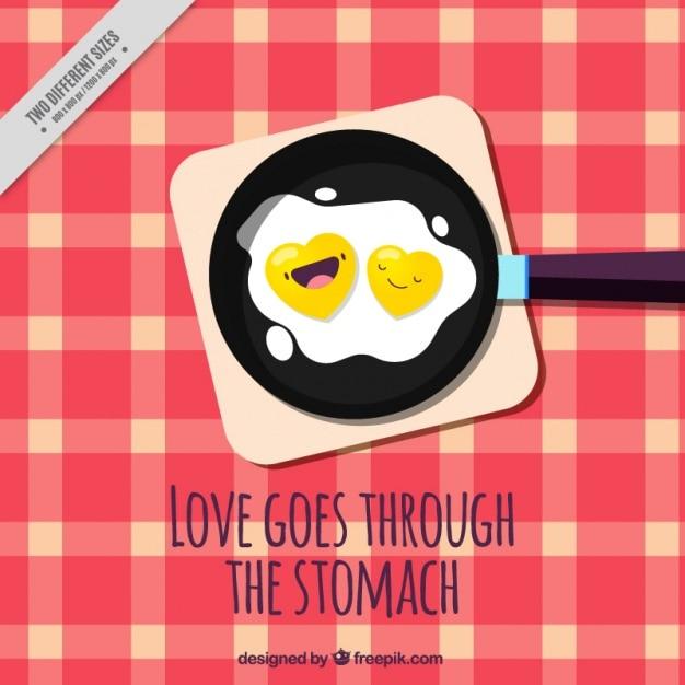 Хороший фон жареные яйца в кастрюлю с любящей фразой Бесплатные векторы