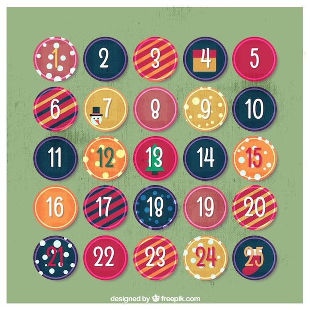 抽象的な円のアドベントカレンダー 無料ベクター