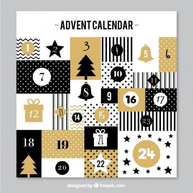 ビンテージスタイルのエレガントな黄金のアドベントカレンダー 無料ベクター
