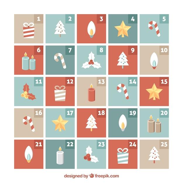 素敵な要素を持つアドベントカレンダー 無料ベクター