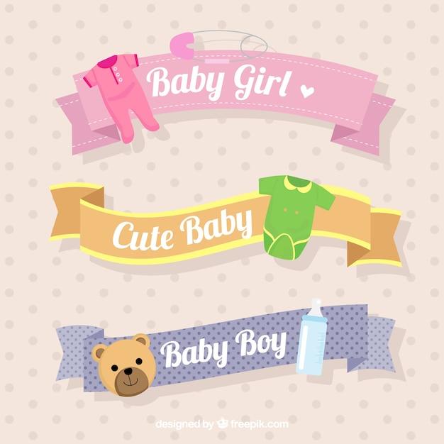 赤ちゃんのオブジェクトと装飾的なリボンの選択 無料ベクター