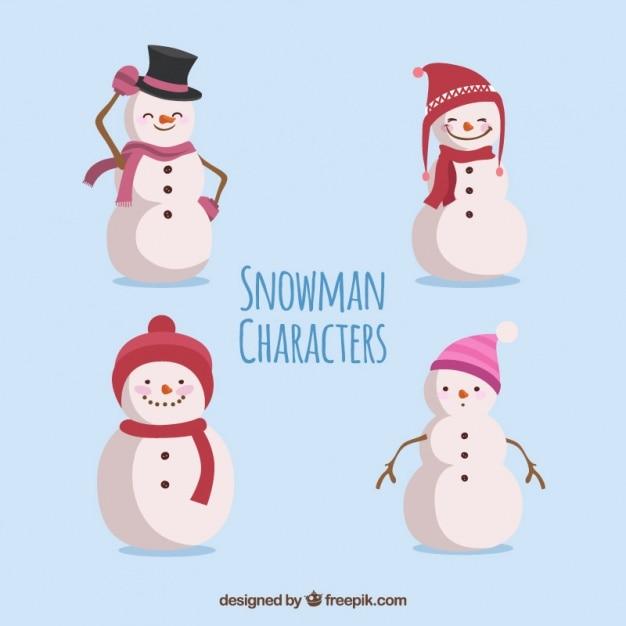 別の帽子と雪だるまコレクション 無料ベクター