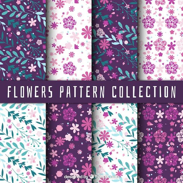 花や葉と幻想パターンの盛り合わせ 無料ベクター