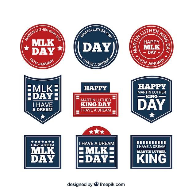 マーティン・ルーサー・キングの日のために準備青と赤のステッカーのコレクション Premiumベクター