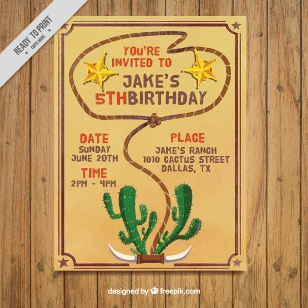 Приглашение на день рождения с веревкой и кактус Бесплатные векторы