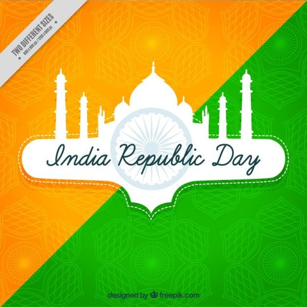 インド共和国の日のタージ・マハルと緑とオレンジ色の背景 無料ベクター