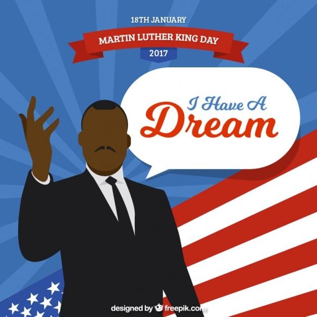 マーティン・ルーサー・キングの日のためのフラット背景 無料ベクター