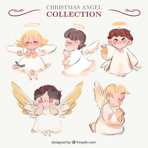 水彩画のスタイルで素晴らしい天使コレクション 無料ベクター