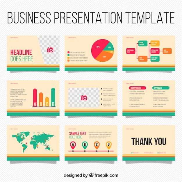 インフォグラフィック要素を持つビジネスプレゼンテーションテンプレート 無料ベクター