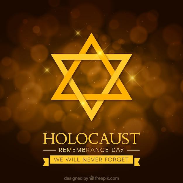 ホロコースト記念日、茶色の背景に金色の星 無料ベクター