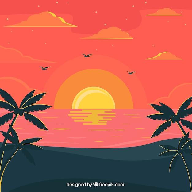 夕暮れ時のビーチの素晴らしい背景 無料ベクター