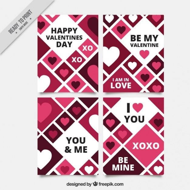菱形と心を持つさまざまなバレンタインカード 無料ベクター