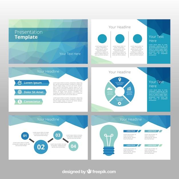 インフォグラフィック要素を持つ多角形のビジネステンプレート 無料ベクター