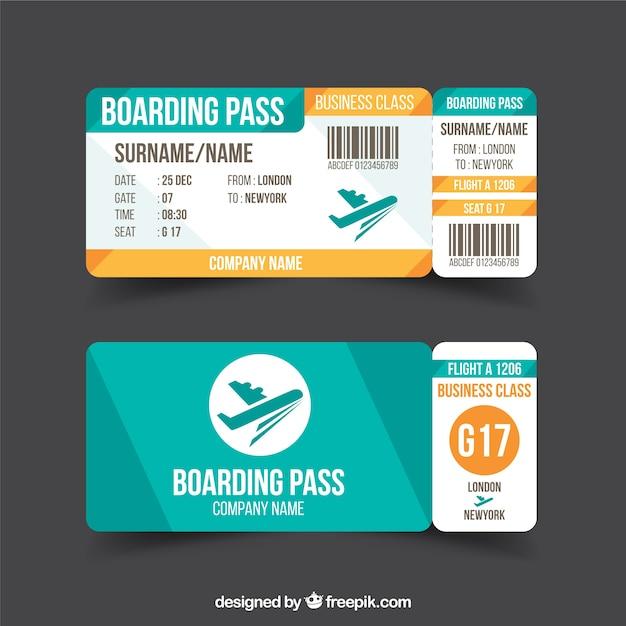 青とオレンジの詳細とフラット搭乗券 無料ベクター