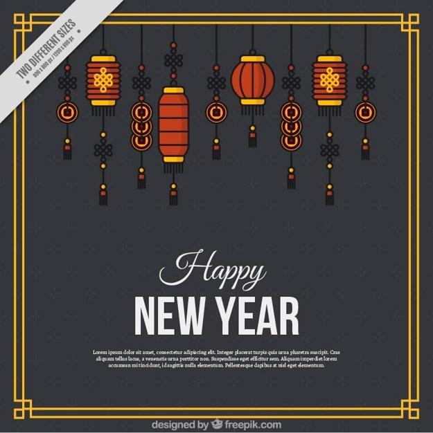 ミニマリスト提灯と中国の新年の背景 無料ベクター