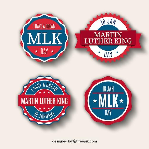 マーティン・ルーサー・キングの日の青と赤のステッカー 無料ベクター