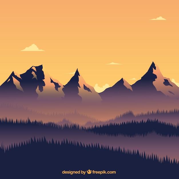 山々と温かい風景 無料ベクター