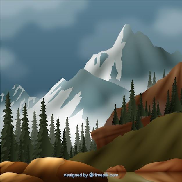 白い山のある風景 無料ベクター