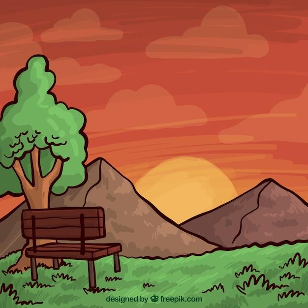 手描きの風景、暖かい色調 無料ベクター