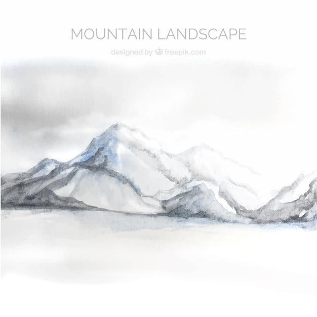 山、水彩画のある風景 無料ベクター
