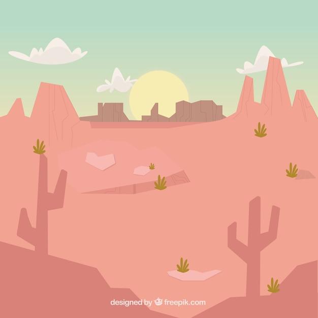 日没時の乾燥風景の背景 無料ベクター