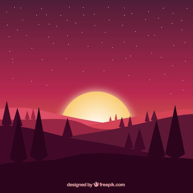 松と山と夕暮れ時のフィールドの背景 無料ベクター