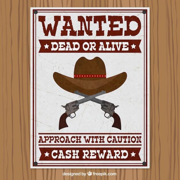 帽子とピストルで指名手配のポスター 無料ベクター