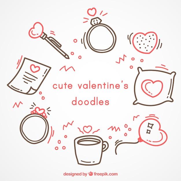 Болваны симпатичные валентина с красными деталями Бесплатные векторы