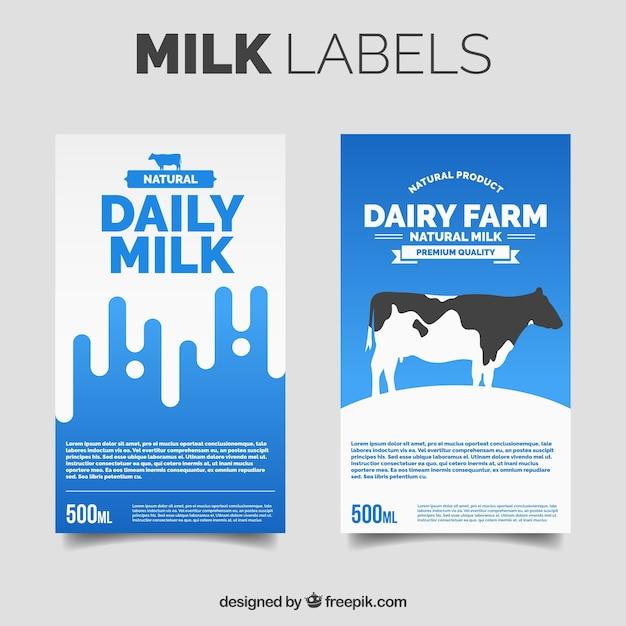 Два наклейки молока Бесплатные векторы